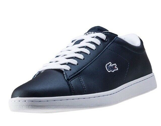 New Women's Lacoste Carnaby Evo 117 3 Leather Metallic Trainers Navy Size