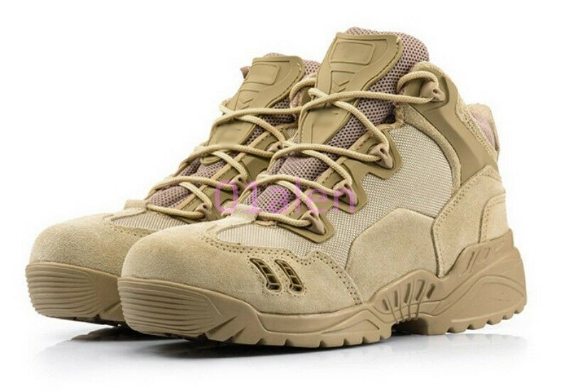 Mens Military Suede Mesh Breathable Combat Desert Trainer Outwear Hiking Boots