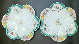 Vintage Trinket Dish Porcelain Plate Hand Painted Flowers Aqua Pink Finger Bowls