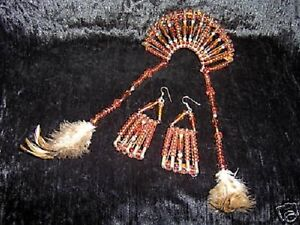 3pc-Latin-Native-Indian-Mexican-Costume-Amber-Bead-Feather-Ear-Rings-Hair-Jewel