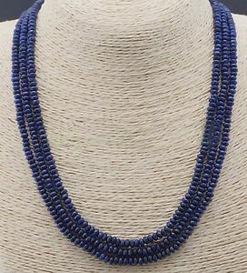 3-Rows-2X4mm-NATURAL-FACETED-DARK-BLUE-SAPPHIRE-GEMS-BEADS-NECKLACES