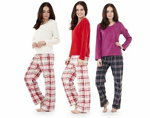 a0225e0316 Ladies Super Soft Fleece Pyjama Set Plain Womens PJ S Winter Warm ...