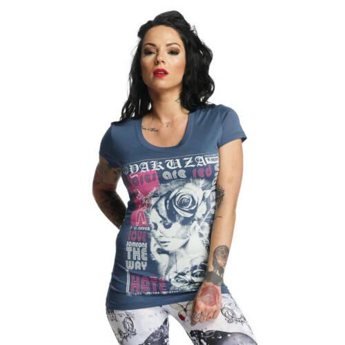 "YAKUZA GSB 11123 /""Roses Are Red/"" mallard blue Girlie blau Damen T-Shirt"