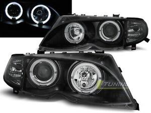 Paire-de-feux-phares-BMW-serie-3-E46-berline-09-2001-a-03-2005-angel-eyes-noir