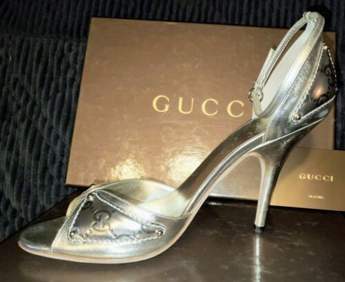 GUCCI GUCCISSIMA SILVER LEATHER SHOES SANDALS 10