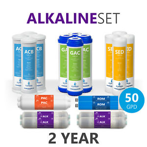 2 Year Alkaline Reverse Osmosis System Replacement Set – 20 Filters – 50 GPD