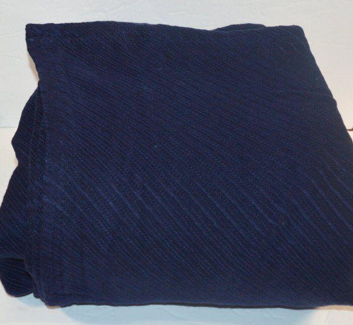 RALPH LAUREN Regent Diagonal Navy bluee Full  QUEEN BLANKET New Mercerized Cotton