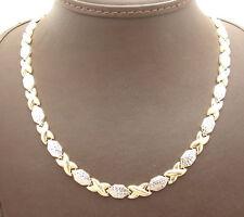 Diamond Cut Hugs & Kisses XOXOXO Chain Necklace Real 10K Yellow White Gold