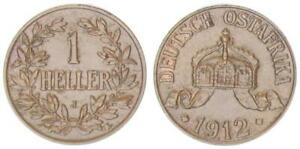 German East Africa 1 Heller 1912 J XF 45072