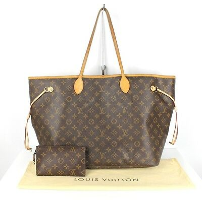 Louis Vuitton Brown Monogram Canvas Neverfull GM Tote Bag $1100 With Pochette