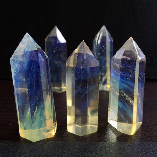 Natural Flourite Amethyst Rose Clear Quartz Crystal Point Obelisk Wand Healing