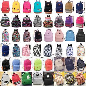Mens Women Retro Rucksack Backpack School College Travel Shoulder Bag Satchel