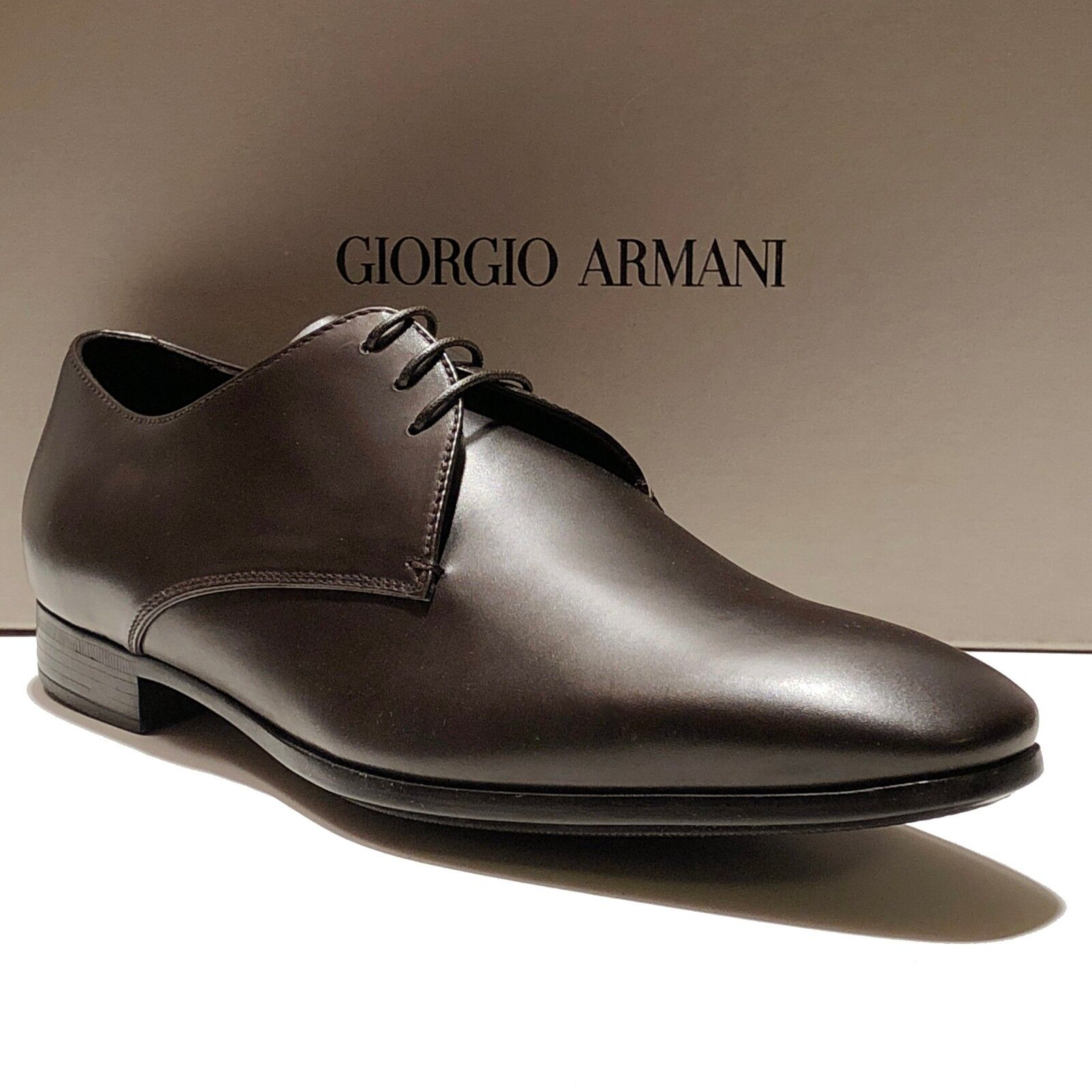 NEW Giorgio Armani ITALY Brown 13 46 Leather Formal Dress Oxford Men's shoes
