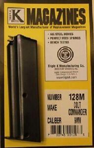 Colt-Commander-9mm-9-Round-RD-Blued-Steel-Magazine-Mag-Triple-K-128M