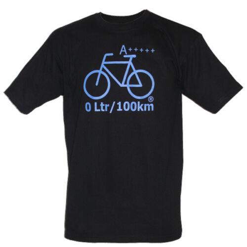 FAHRRAD T-Shirt 0L//100km A++++ NEU schwarz Bike Fahrraddemo Öko blauer Druck