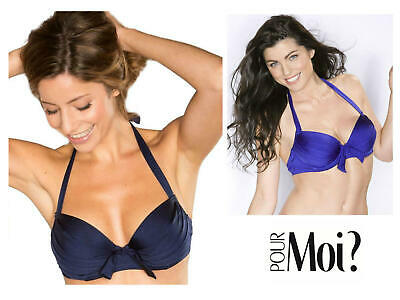 POUR MOI AZURE BIKINI TOP CHOCOLATE BROWN UNDERWIRED PADDED MOULDED HALTER NECK