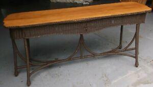 Superieur Details About Vintage Wicker Sofa Table