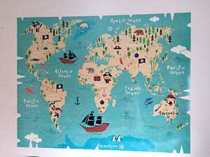 Pirate World Map.Pirate Treasure World Map Vinyl Wall Sticker Decal Boys Girls