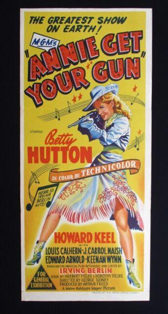 ANNIE GET YOUR GUN 1950 Rare Australian daybill movie poster Betty Hutton Oakley