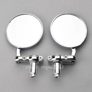 Motorcycle-CNC-Aluminum-3-034-Round-Rearview-HandleBar-End-7-8-034-Side-Mirrors-Chrome
