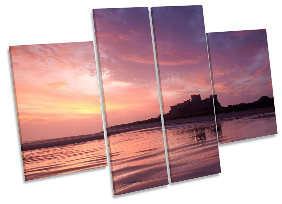 Bamburgh Castle Northumberland Sunset CANVAS Wand Kunst MULTI Panel Drucken Box Fram