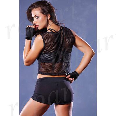 New women athletic sports racerback mesh top plus size black 30136X