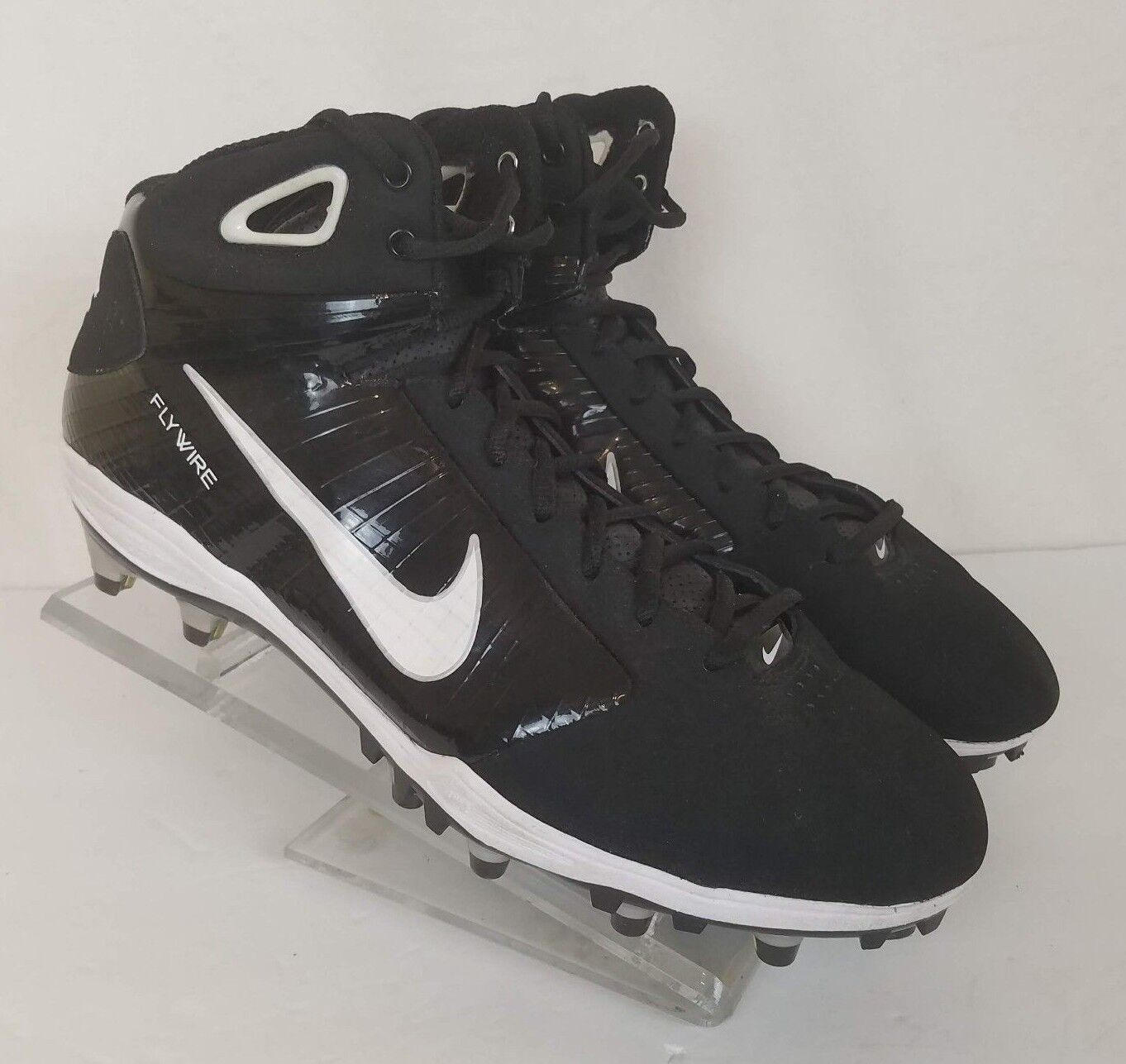 Nike Flywire Mens Cleats Black White Size 14.5 Football Lace Up Zoom Hyperfly