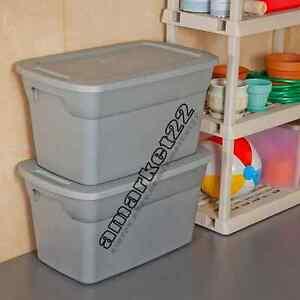Gray plastic storage boxes 18 x sterilite 30 gallon tote for Garage totes 76