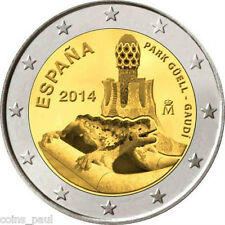 Spain Espagne Spanien 2 euro 2014, Works of Antoni Gaudi, Guell  Park Com. UNC