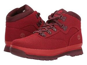f9a84b81b52 Details about TIMBERLAND TB0A1QCR625 EURO HIKER Jr´s (M) Medium Red Fabric  Hiker Boots