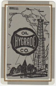 Playing-Cards-1-Single-Card-Old-1930s-HYGRADE-OIL-Co-Advertising-Art-Oil-Well-2