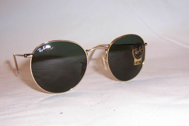 New Ray Ban Round Metal Sunglasses 3447 001 Gold Green 53mm Authentic