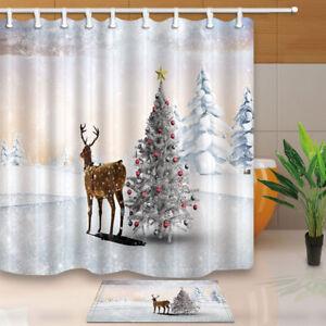 Christmas tree and reindeer Shower Curtain Bathroom ...