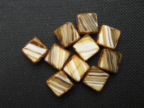 10 séquoia perles de verre marron marbré 10x10mm 10195