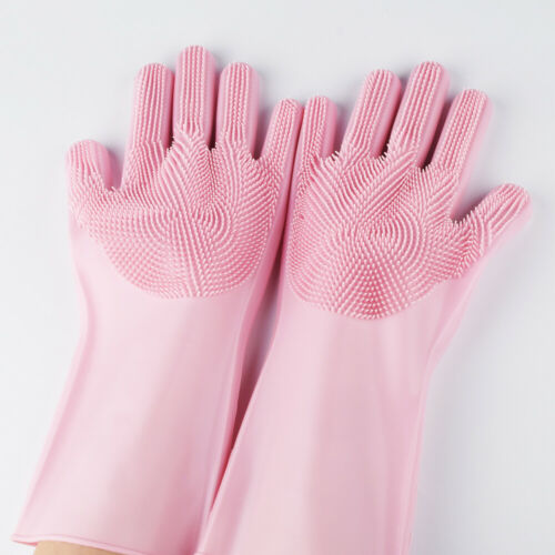 Magic Silicone Rubber Dish Washing Gloves Kitchen Pet Bath Cleaning Scrubber