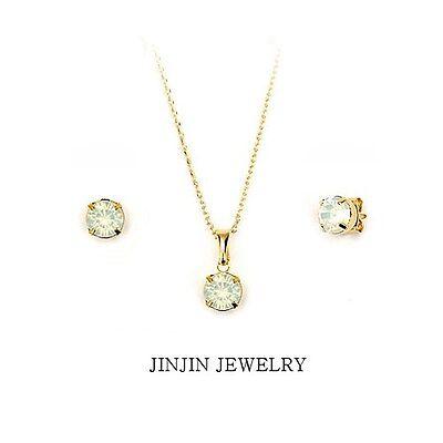 KOREA 18KGP earrings necklace stud type swarovski crystals jewelry set |  eBay