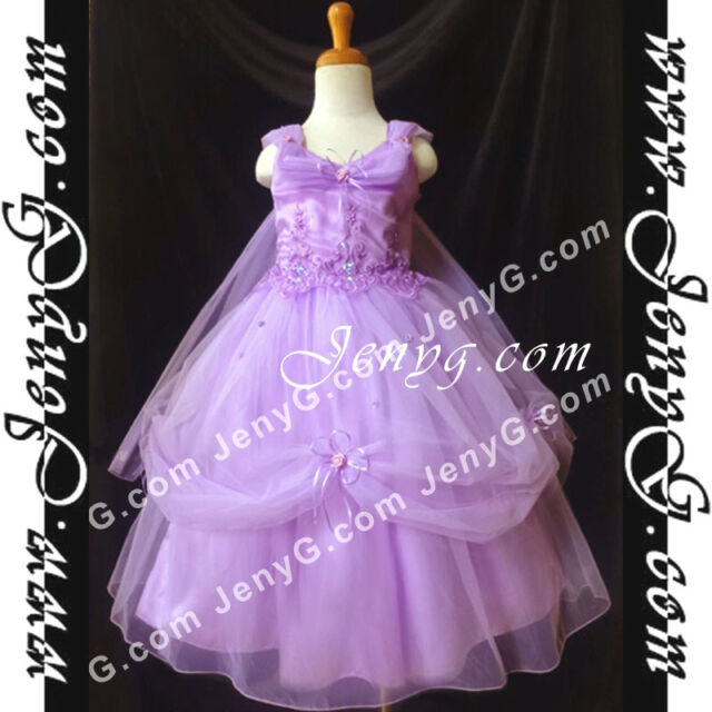 #BF01 Flower Girls/Holiday/Formal/Pageant/Party Gown Dress, Purple 3-14 Years