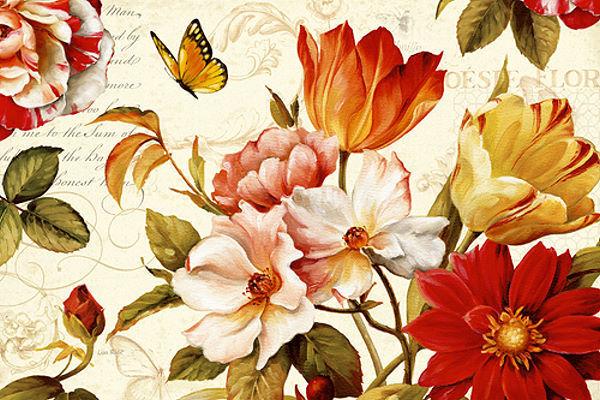 Lisa Audit  Poesie Florale III Keilrahmen-Bild Leinwand Blaumen Garten Landhaus