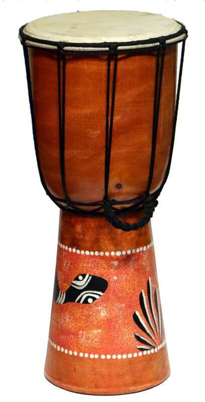 Tolle Afrika BONGO 40cm Djembe Schlange bemalt Snake Carving Drum Trommel12