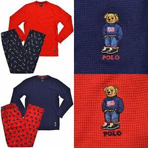 0cf3c6529ae1 Polo Ralph Lauren Mens Polo Bear Pajama Set Flannel Pants Thermal ...