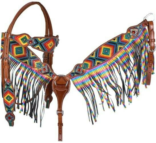Showhomme cuir headpiece & collar martingale set w kaleidoscope printed diamond