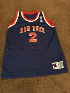 5dfae676543 Image is loading Vintage-Champion-Youth-Basketball-Jersey-Larry-Johnson- Knicks-
