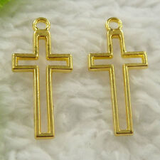 Free Ship 280 pieces gold plated cross charms 23x11mm L-4674