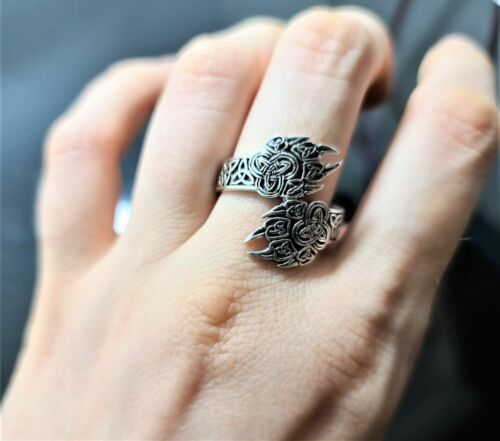 Bear Paw Anneau Argent Sterling 925 Viking Bear Claw Celtic Knot Sacred Talisman