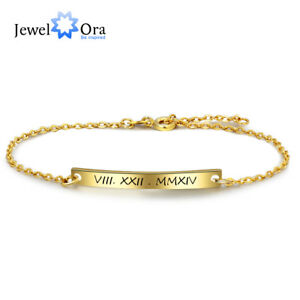 Details About Personalized Engraving Chain Bracelets Custom Tennis Bracelet Gift Women Jewelry