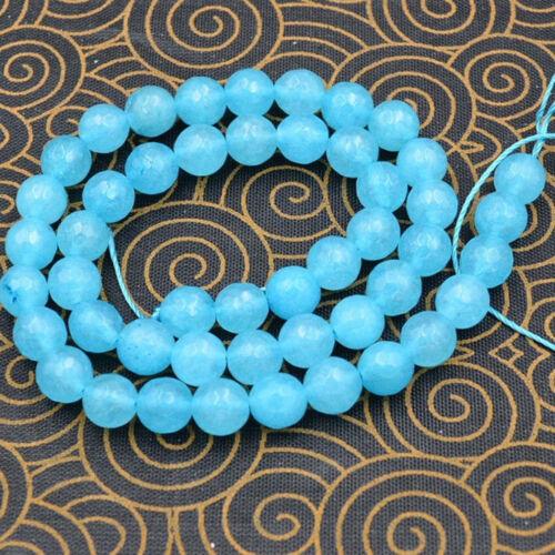 "8mm Faceted Natural Aquamarine Gemstones Loose Beads 15/"" JL547"