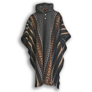 Llama-Wool-Mens-Unisex-South-American-Hooded-Poncho-Cape-Coat-Jacket-striped