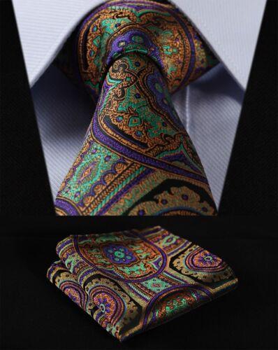 "Purple Green Floral 3.4/"" Silk Woven Men Tie Necktie Handkerchief Set#TF453P8"