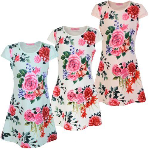 Filles casual imprimé floral mini robe enfants ajustée style summer party top 3-14 y
