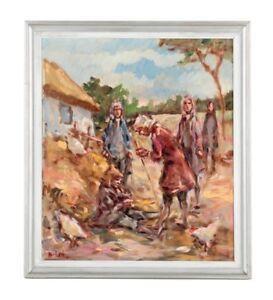 VINTAGE Oil Painting Colonial Gentleman Barnyard Chickens Portrait B. Levin
